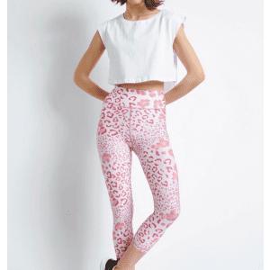 Baya Cropped κολάν με ροζ animal print - 4467