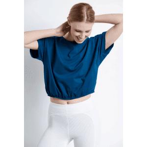 Cropped μπλούζα με λάστιχο - 48234-1